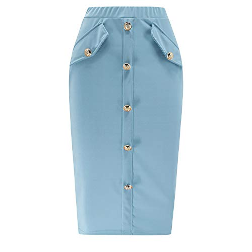 kingfansion Skirts with Pockets Women High Waisted Pencil Skirt Bodycon Button Skirts for Women Knee Length Blue by kingfansion dress (Image #1)