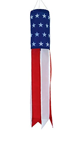 In the Breeze Stars and Stripes - 24 Inch Windsock - Patriotic Hanging Decoration - Red, White and Blue (American Flag Windsock)