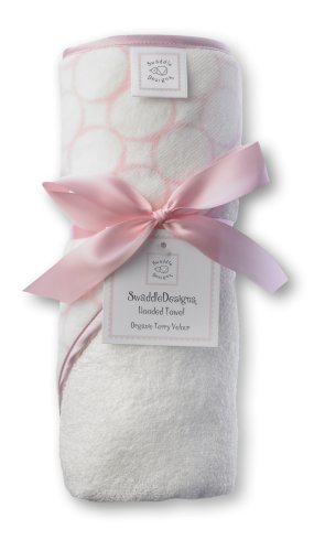 SwaddleDesigns Organic Cotton Terry Velour Hooded Towel, Pastel Pink Mod Circles