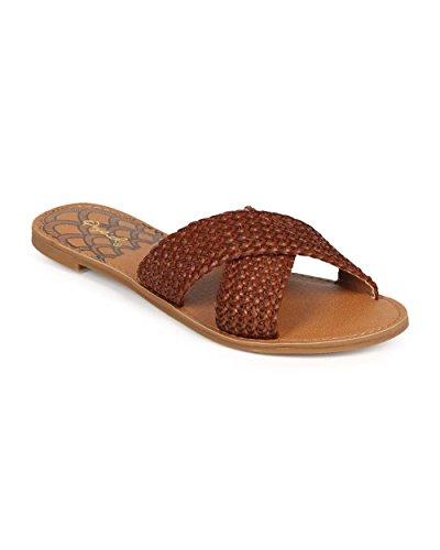 Qupid EE23 Women Women Peep Toe Criss Cross Platform Slipper Sandal - Cognac (Size: 8.5)