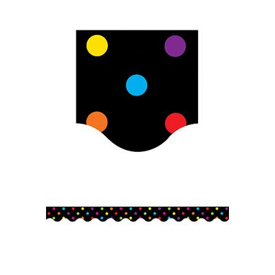 Black/multicolor Dots Scalloped Classroom Border [Set of 3] Scalloped Border Sets