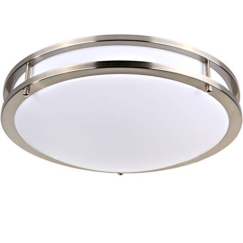 Hykolity 18 Inch LED Ceiling Light, 30W [200W Equivalent] 2200Lm 4000K BN Finish Dimmable Saturn Flushmount Ceiling Light ETL Listed for Bedroom, Restroom, Walk in Closet, Washroom, Living Room ()