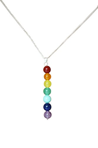 7 Chakra Necklace with Adjustable Chain by Swaxbees - Zen Bonded Leather