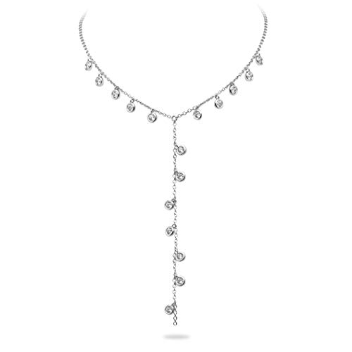 (Crush & Fancy 925 Sterling Silver Dangling Bezel Lariat Necklace Set German Crystal Long Y Necklace | Adjustable 15-16 inches (White Tone - SAMI))