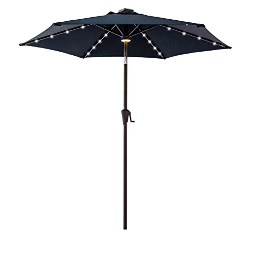 (FLAME&SHADE 7.5' Patio Umbrella with Solar LED Lights and Tilt Market Style for Outdoor Patio Pool Deck Terrace or Garden, Navy Blue)