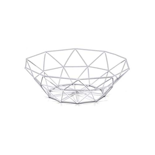 Metal Fruit Basket Iron Fruit Plate Home Storage Products Snack Basket,White -