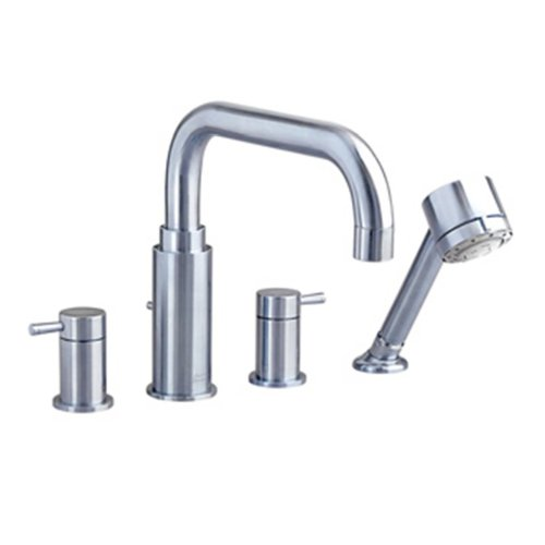 American Standard 2064.901.295 Serin Deck Mount Tub Filler With Personal Shower, Brass Spout, Satin Nickel - Exclusive Roman Tub Faucet