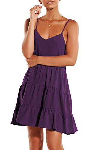 ZJCT Womens Summer Dresses V Neck Sleeveless Spaghetti Strap Sundress Pleated Loose Swing Casual T Shirt Dress with Pockets Purple L