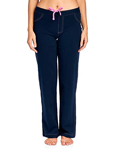 Casual Nights Women's 100% Cotton Contrast Stitch Pajama Sleep Pants, Denim Navy Blue, 2X ()