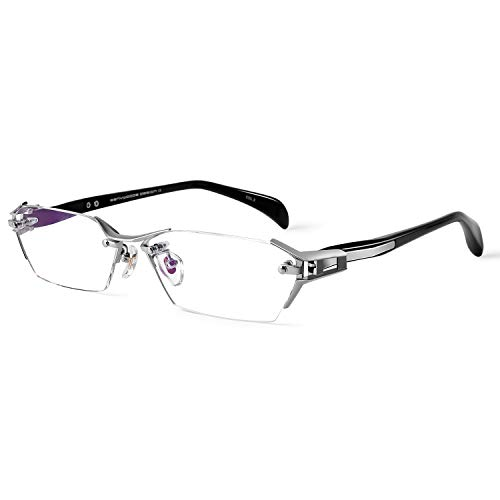 Bertha Men's Business Titanium Eyeglasses Frame Rimless Prescription Optical Glasses 1141(Silver)