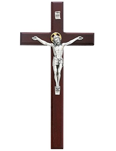 Beveled Cherry Wood Wall Crucifix Cross Silver Color Corpus Gold Color Halo 12 Inch ()