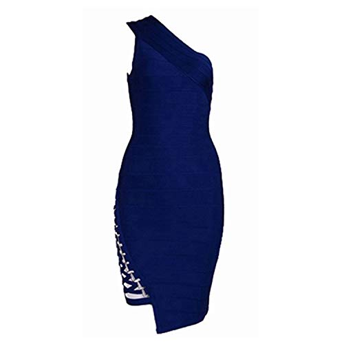Bandage Dress Women Celebrity Sleeveless One-Shoulder Sequined Party Dress,Royal Blue as Photo,L