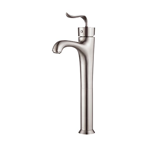 Kraus FVS-13800-Pop Up15BN Modern Coda Single Lever Vessel Bathroom Faucet with Matching Pop-up Drain, Brushed Nickel