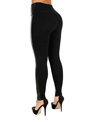 Curvify Womens Faux Leather Leggings, Butt Lifting Thigh Slimmers with High Rise Waist Control (1056, L) (Contour Leather)