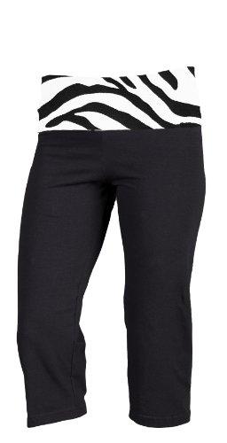 Black Yoga Capri Pant with Fold-Over Waist, Adult Sizes (Medium, Zebra Animal Print) - Fold Over Boxer Shorts