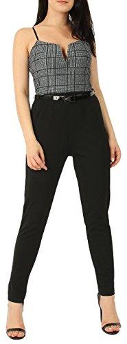 Lurex Check - Ladies Lurex Check V-bar Belted Smart Jumpsuit US Size 4-10 (US 6 (UK 10), Black)