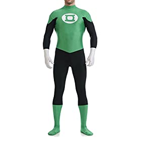- 31nc 2BhRSIOL - Seeksmile Unisex Green and Black Lantern Spandex Hoodless Catsuit