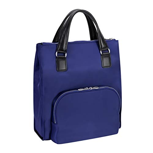 Tech Bag Tote Nylon - McKlein, N Series, Sofia, Nano Tech-Light Nylon with Leather Trim, 3-in-1 Nylon Ladies' Convertible Backpack Tote, Navy (18547)