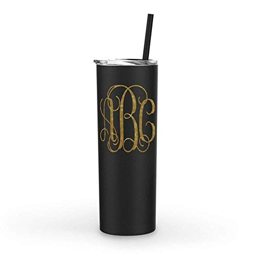 (Monogrammed Stainless Steel Skinny Tumbler | 20oz Matte Black | with Personalized Custom Vinyl Decal)