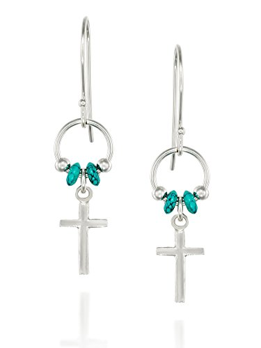 925 Sterling Silver Cross Earrings with Turquoise Beads Accents and French Wire (Turquoise French Hook Earrings)