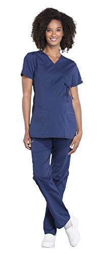 Cherokee Workwear Professionals Women's Maternity Mock Wrap Scrub Top WW685 & Maternity Straight Leg Scrub Pants WW220 Medical Uniforms Scrub Set (Navy - Large/Large Tall)