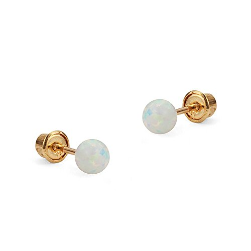 14k Yellow Gold 3mm Simulated Opal Ball Children Screwback Girls Earrings ()