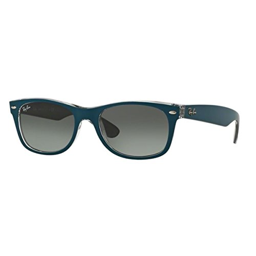 Ray-Ban RB2132 New Wayfarer Sunglasses, Matte Blue Grey On Grey/Grey Gradient, 55 mm ()