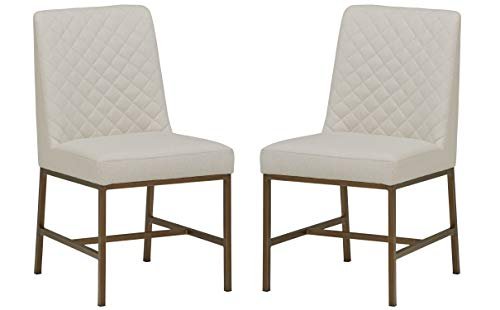 Rivet Vermont Modern Upholstered Diamond Accent Dining Chair – Set of 2, 24 x 23 x 35 Inches, Chalk White