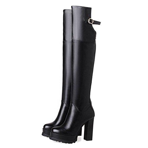 rodilla KingRover tacón hebilla mujer la punta redondeada negro con estilete botas para sobre alto cremallera plataforma q06qxr
