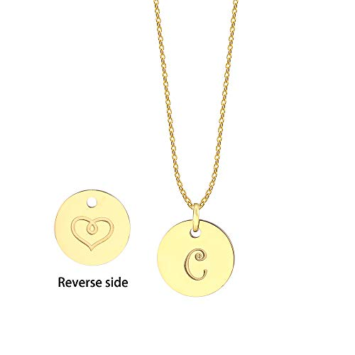 JIUBAN Initial Necklace Letter Round Disc Pendant Double Side Engraved Adjustable Personalized Necklace(26 Alphabets A to Z) (C-Gold)