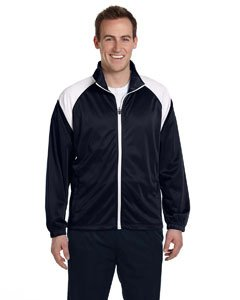 Harriton Mens Tricot Track (Harriton Men's Tricot Track Jacket, Navy/White, X-Large)