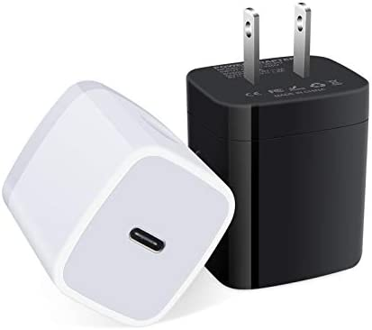 USB-C Power Adapter for iPhone 12,18W PD3.0 USB C Fast Wall Charger Type C Charging Block Brick Cube Box for iPhone 12 Mini/12 Pro/11/XS/XR/iPad Pro/Airpods Pro,Galaxy S20 FE 5G,Note20/10,Pixel(2 Pcs)