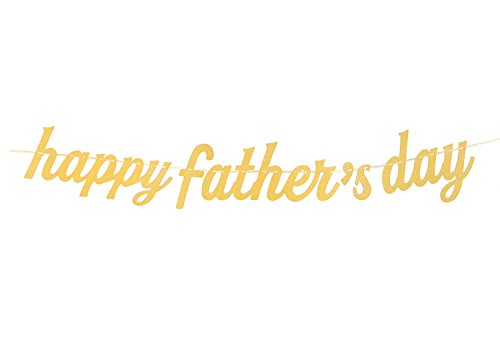 Day Decorations Fathers (Qibote Father's Day Banner Gold Glitter Happy Father's Day Banner for Father's Day Party Decorations)