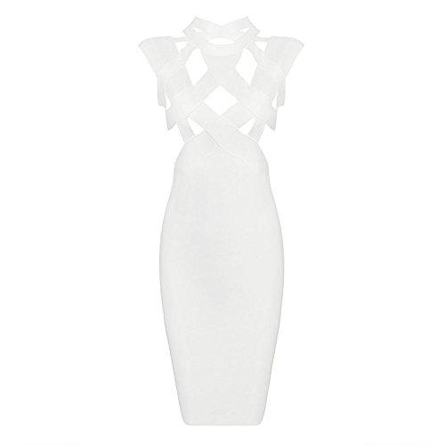 Sleeveless Rayon necked High Dress Midi Blanc Out Cut Bandage Hlbandage TSPqWdZfxS