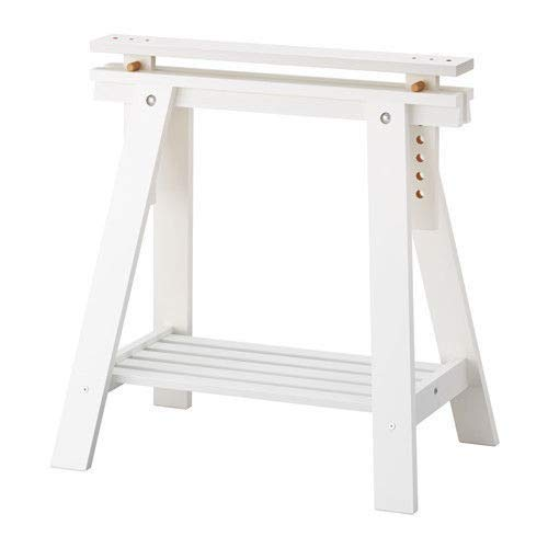 Set of 2 Durable Solid Wood Trestle Legs with Additional Shelf for Table , Desk , Workstation or Drawing Table, Height and Angle Adjustable , White (Table Antique Trestle)