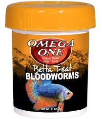 Bloodworms Food Fish (Omega One Betta Treat Bloodworms Freeze Dried Nutri-Treat)
