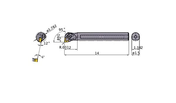 1.782 Minimum Cutting Dia. 95/° Cutting Angle Steel Shank Mitsubishi Materials S-DCLNR-244-C Double Clamp Dimple Boring Bar with 0.500 IC Rhombic 80/° Insert with Coolant 1.500 Shank Dia Right