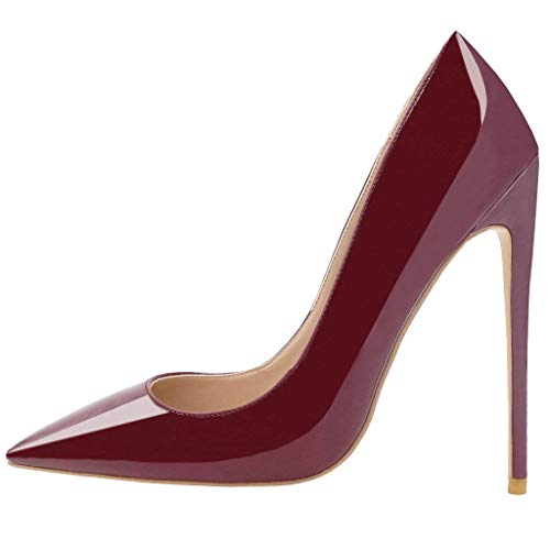 Pointed Womens Toe Wine Stiletto Heel Pumps Patent Red Party Slip Wedding on Lovirs High Shoes Basic A5wfdAq