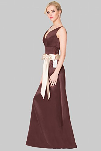 SEXYHER una l¨ªnea princesa con cuello en V de damas de honor vestido de noche formal -EDJ1654 DarkChocolate-111DS