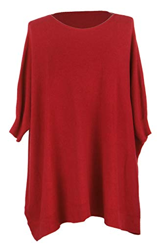 Knitted Batwing Ladies Plus Ribbed Size Red Cuff Womens Sweater Hem Lagenlook TEXTURE Jumper One YRAwq4f4