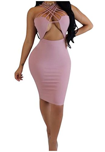 Sleeveless Evening Pink Sexy Dress Mid Bodycon Coolred Womens Solid Bandage 0xqzc5Tt