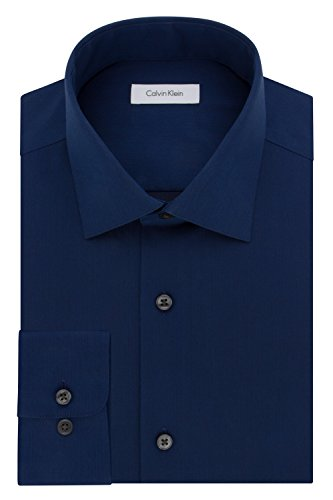 Herringbone Classic Dress - Calvin Klein Men's Regular Fit Non Iron Herringbone Spread Collar Dress Shirt, Blue Velvet, 16