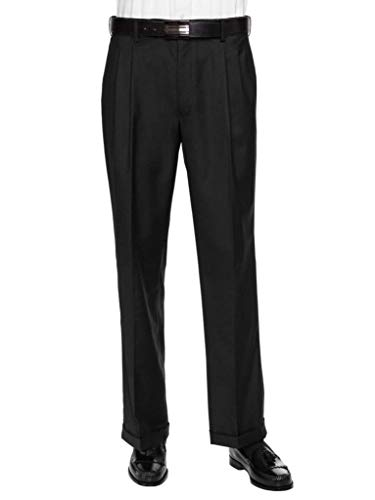 Comfort Waist Pleated Dress Slack - GIOVANNI UOMO Mens Pleated Front Expandable Waist Dress Pants Black - Cuffed 42W x 30L