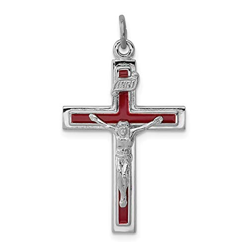 925 Sterling Silver Rhodium-plated Enameled Crucifix Charm Pendant