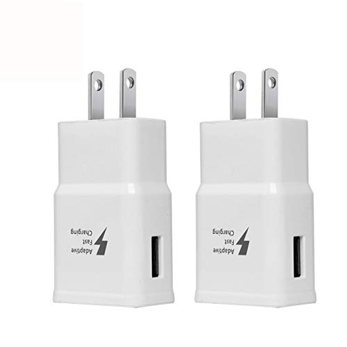 Adaptive Fast Charging Wall Charger Adapter Compatible Samsung Galaxy S6 S7 S8 S9 S10 / Edge/Plus/Active, Note 5,Note 8, Note 9, LG Quick Charge Charger White (2 Pack) (White)