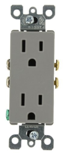 Leviton 5325-GY 15 Amp, 125 Volt, Decora Duplex Receptacle, Residential Grade, Grounding, - Plug Gray