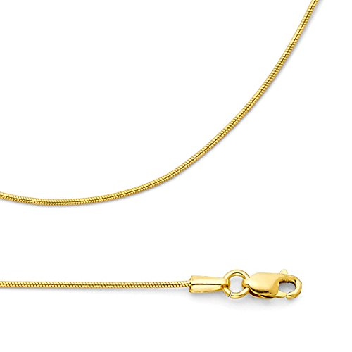 Solid 14k Yellow Gold Necklace Snake Chain Round Diamond Cut Style Polished Genuine 0.7 mm 18 inch