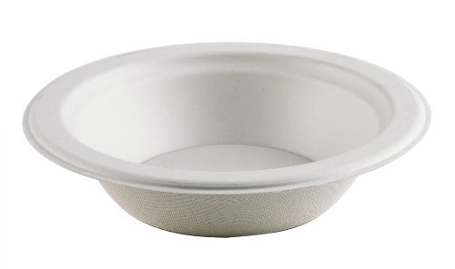 Thali Outlet - 125 x Round 12oz Strong Paper Bowls Biodegradable Bagasse Disposable For Side Dessert Starter - 350ml by Thali Outlet - Leeds Shopping Outlet