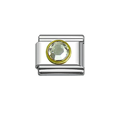 Birthstone Italian Charm Bracelet 9mm Link Choose Your Birthstone From Menu (April Birthstone Italian Charm)