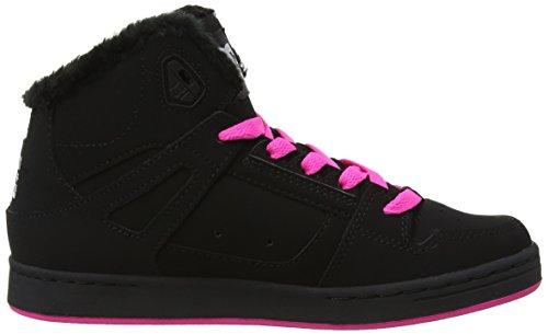 DC Universe Rebound Hi - Zapatillas de skateboarding para niños Black/Crazy Pink